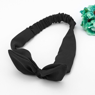 Elastic chiffon headband with bow