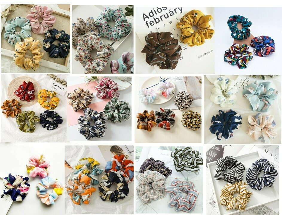 Assorts scrunchies - 30, 50, 100 pieces