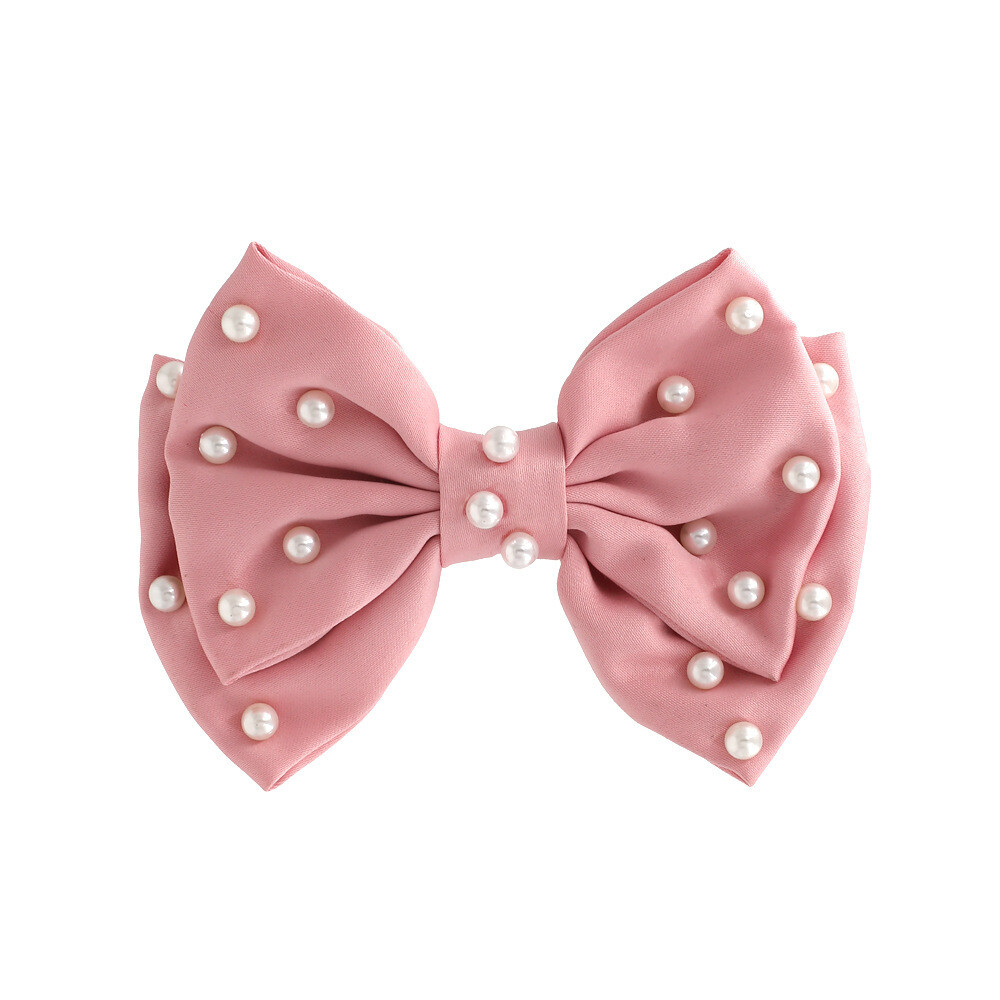 Pearls studded pink satin bow hair slide
