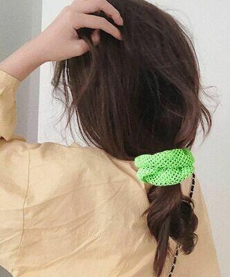 Neon net fabric scrunchies