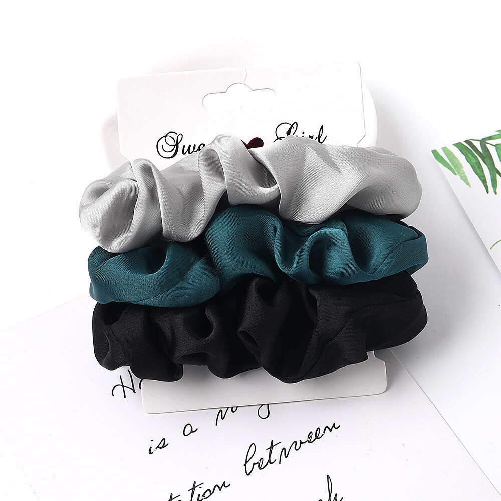 3-pack silky satin scrunchies