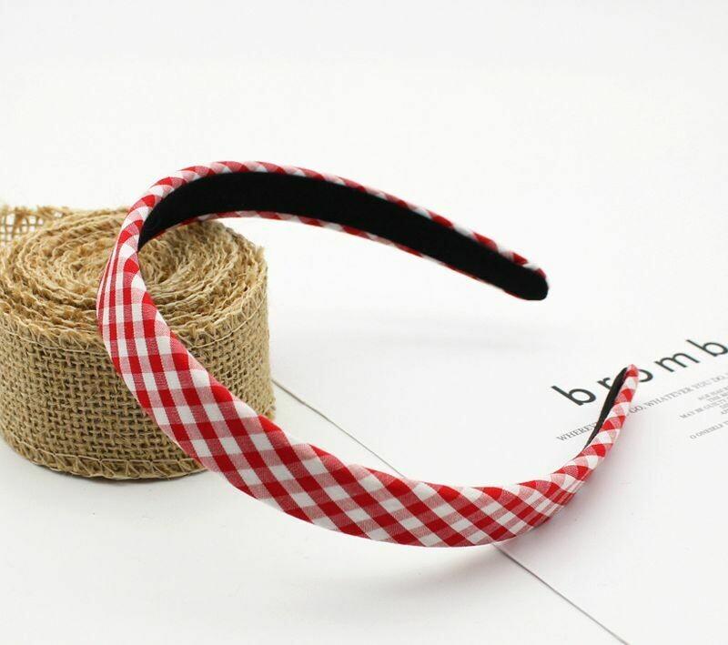 Gingham patterned slim cotton headband