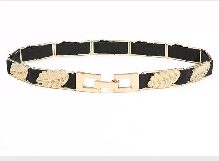 Metal leaves studded elastic belt