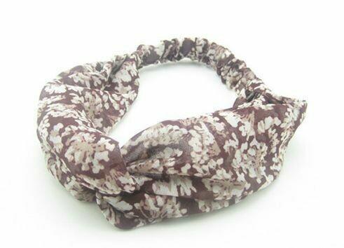 Twist front rust floral turban headband