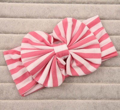 Strips cotton large bow headband