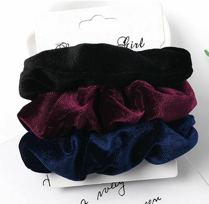 3-pack plain colours velvet scrunchies