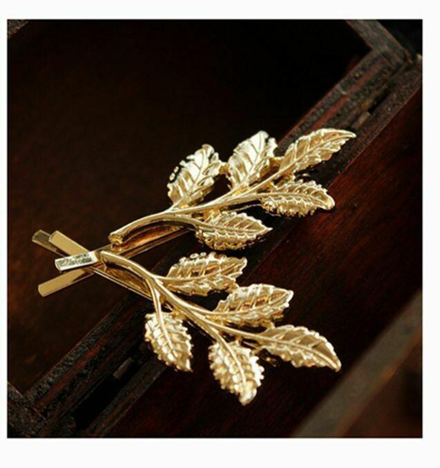 Golden leaf branch bobby pins