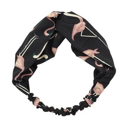 Flamingo prints elastic turban headband