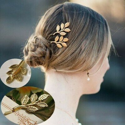 Golden leaf branch bobby pins