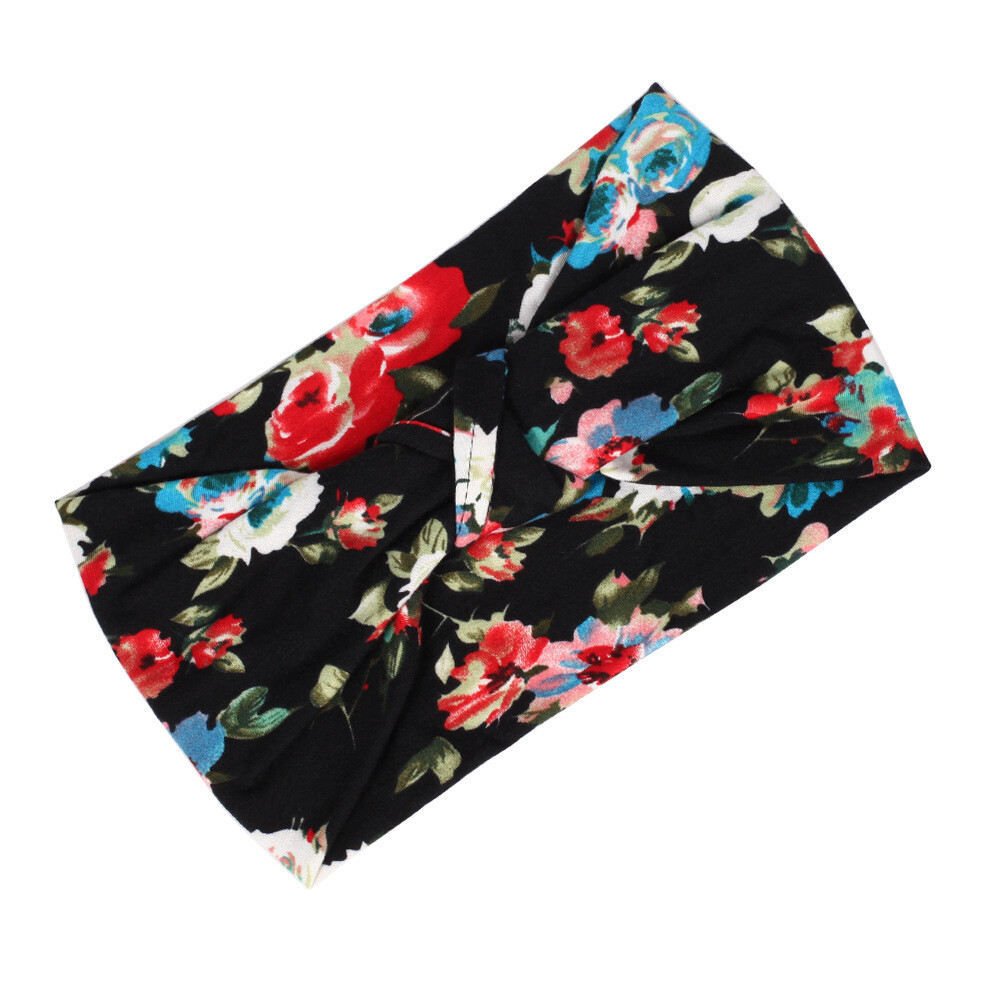 Knot front floral patterned bandanna headband