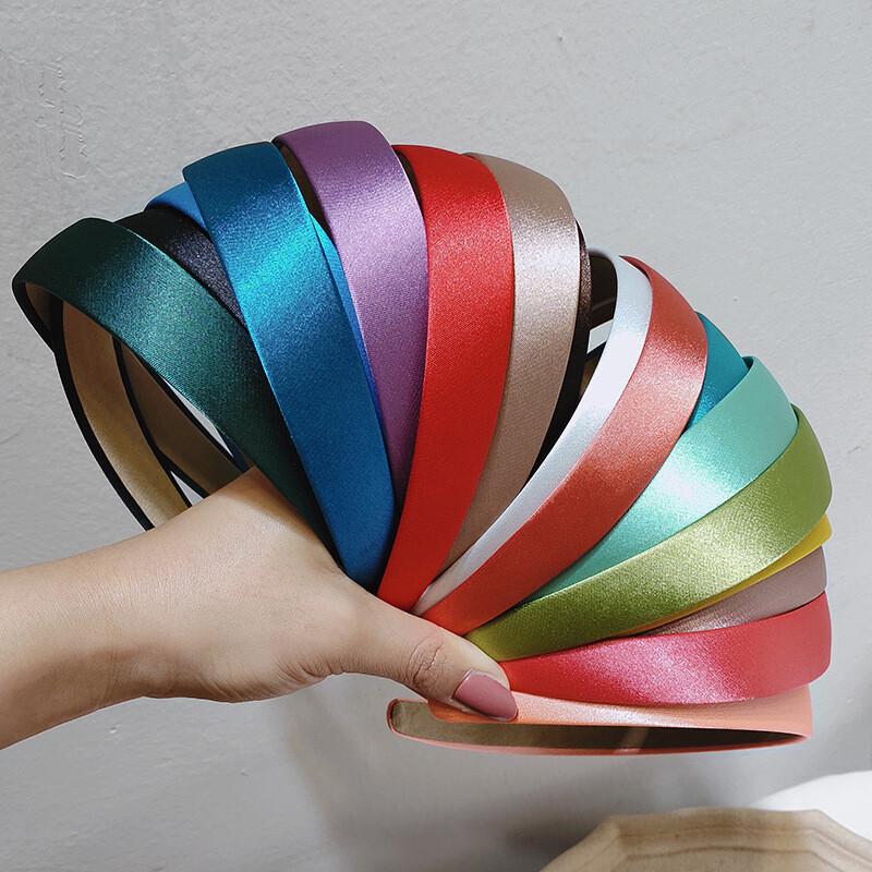 2.5cm-wide silky satin headband- 10 - 100 pieces
