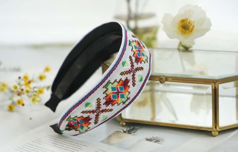 5.2cm-wide bohemian style stitched pattern headband