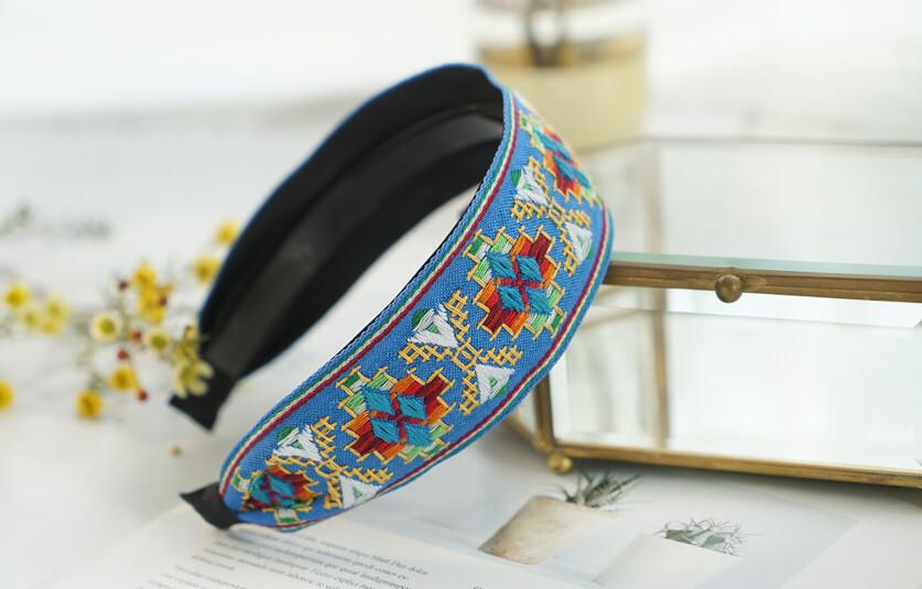 5.2cm-wide bohemian style stitched pattern headband
