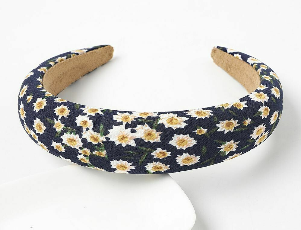 Padded headband with small flowers printing
