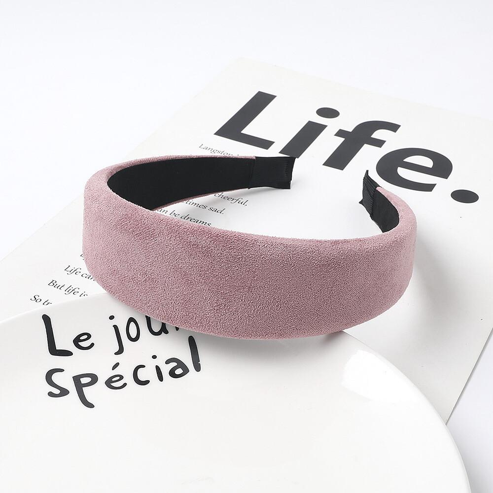 4cm-wide plain colour soft suede wide headband