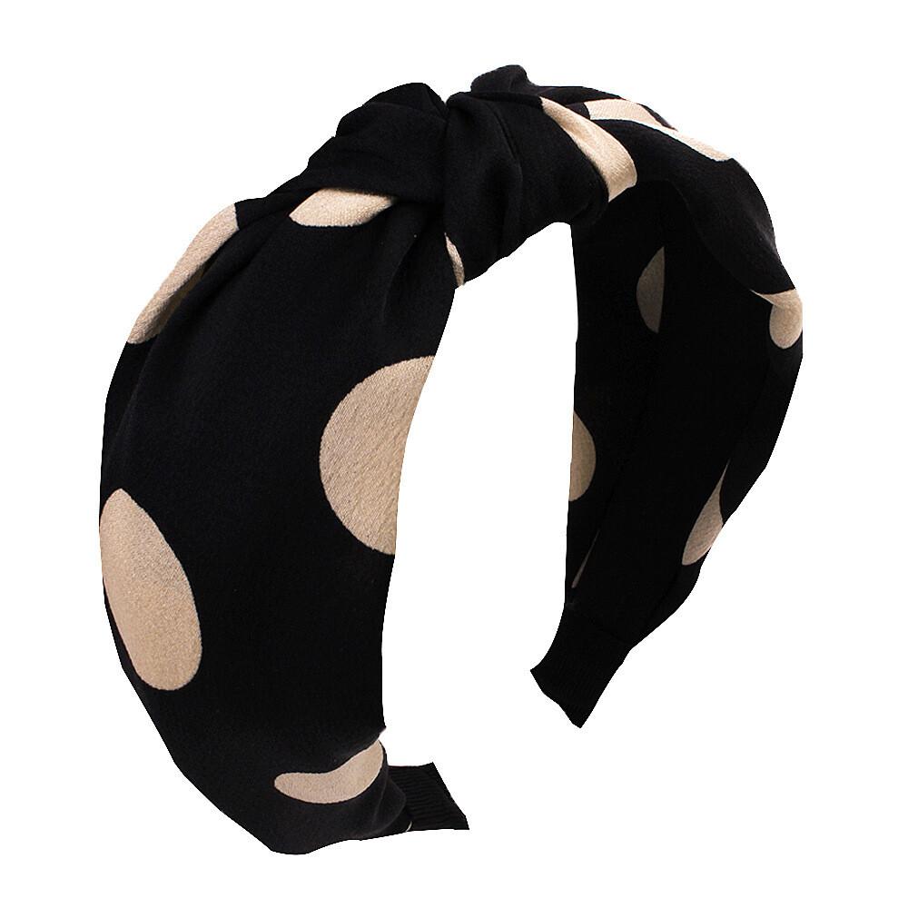 Large polka dots satin knotted headband