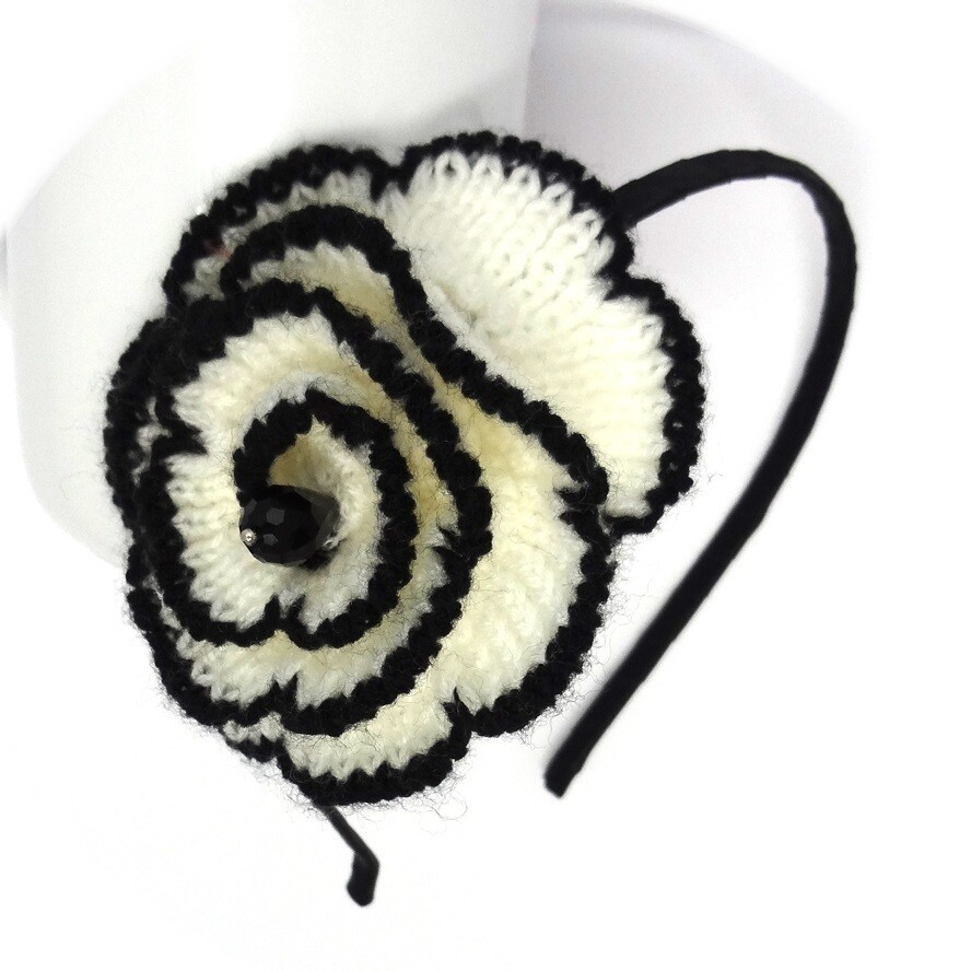 Crochet white rose flower headband