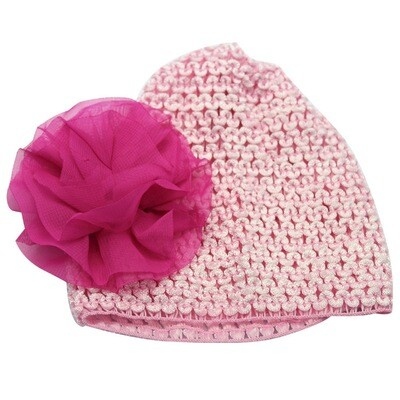 Pink chiffon flower stretch baby hat