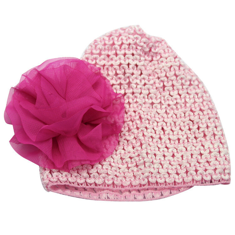 Pink chiffon flower stretch baby hat
