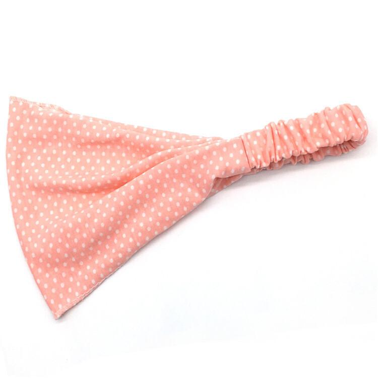 White polka dots light pink bandanna headband