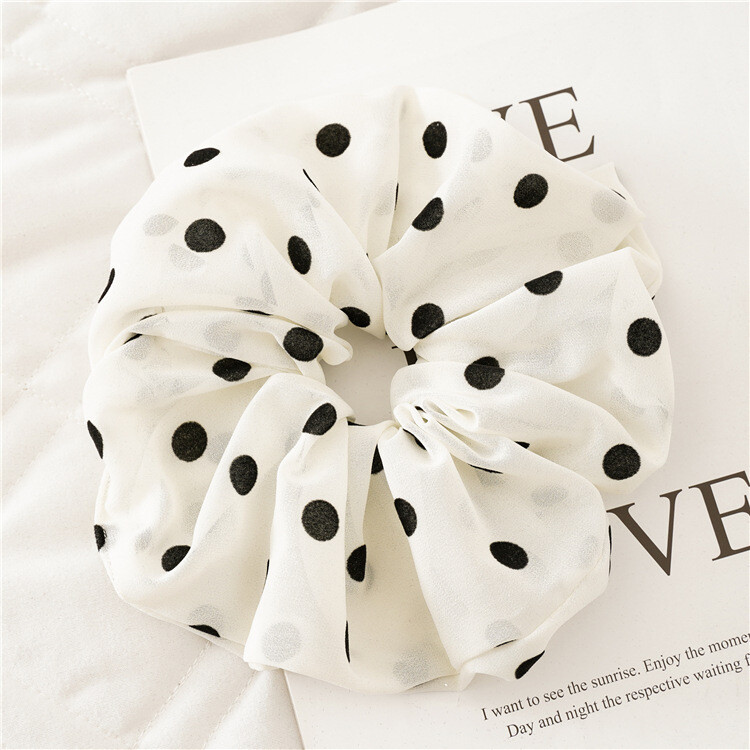 Over-size polka dots chiffon scrunchies