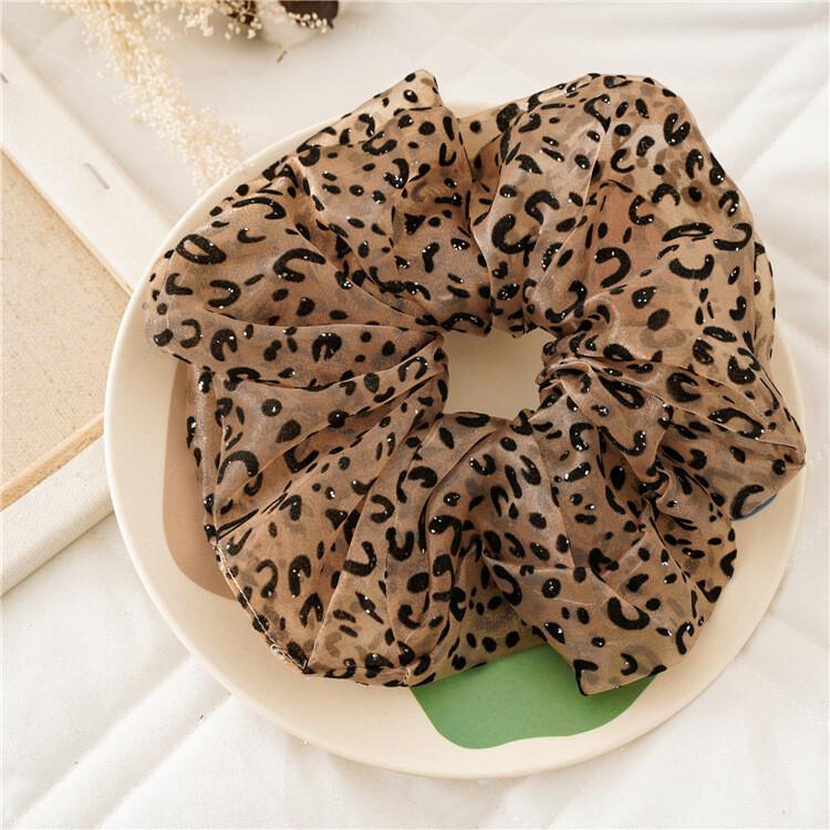 Over-size glitter leopard organza scrunchies