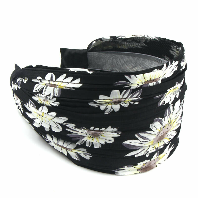 8cm wide sunflowers printed pleated chiffon headband