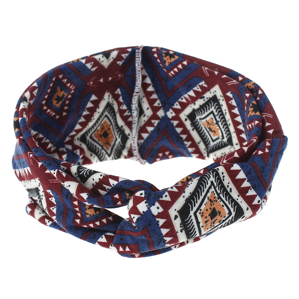 Bohemian style diamond patterned turban headband