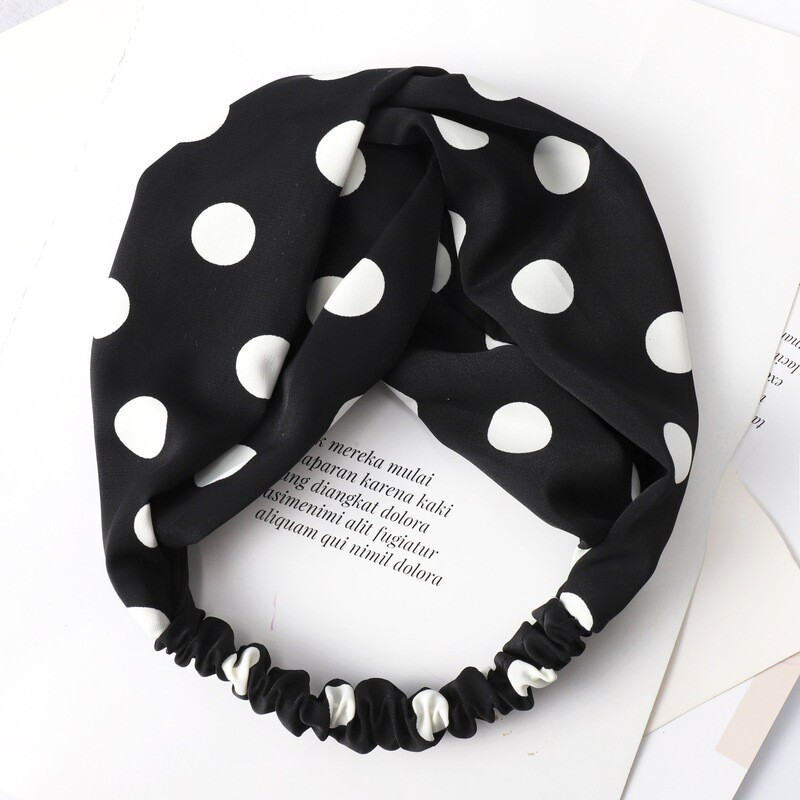 Polka dots soft chiffon twist front elastic headband