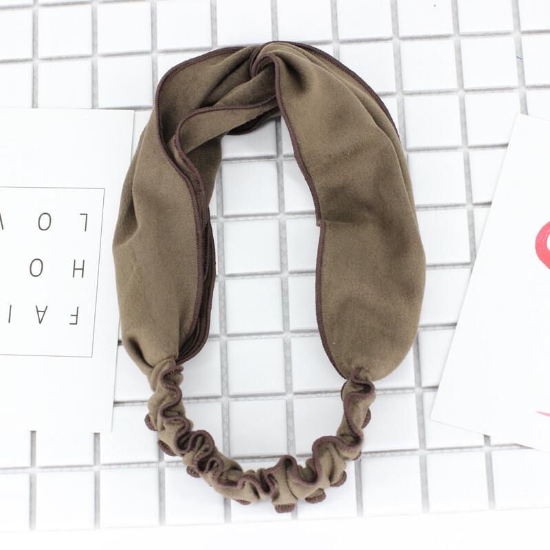 Soft suede twist front elastic headband