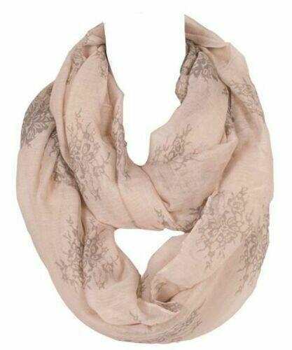 Floral printed beige infinity scarf