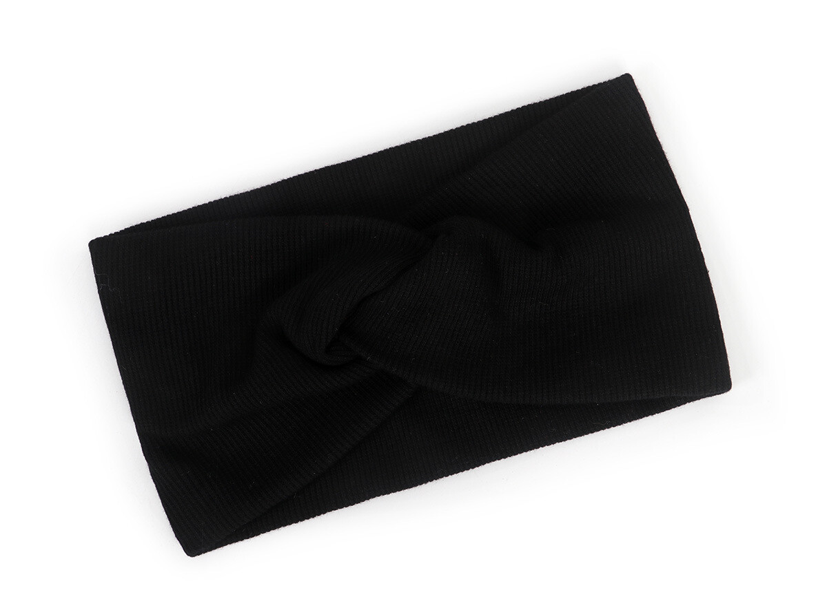 Twist front ribbed fabric stretch headband