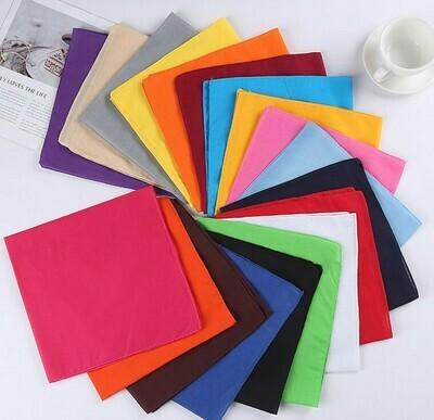Plain colour square bandanna scarf
