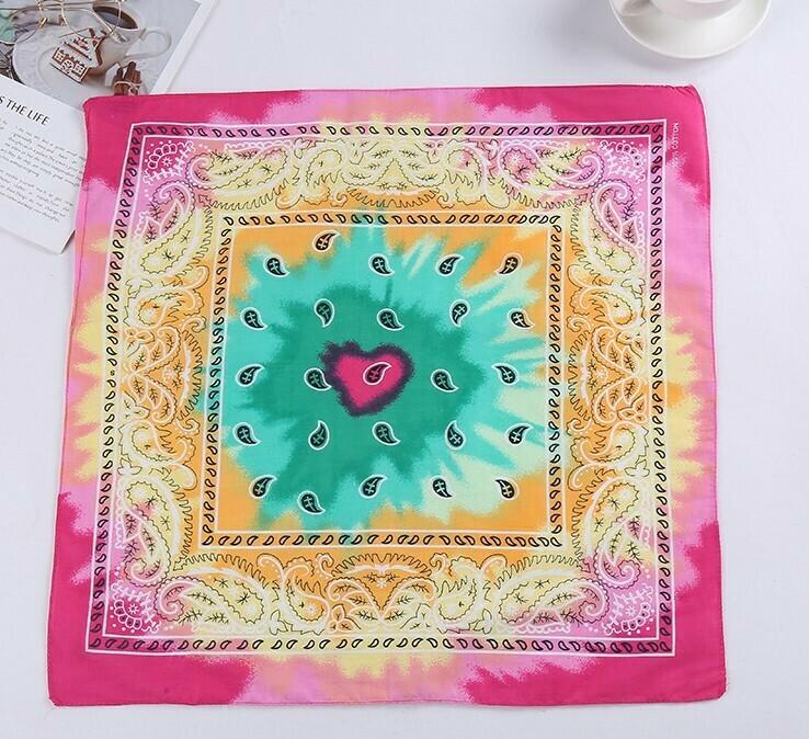 Tie-dye amoeba patterned square bandanna scarf