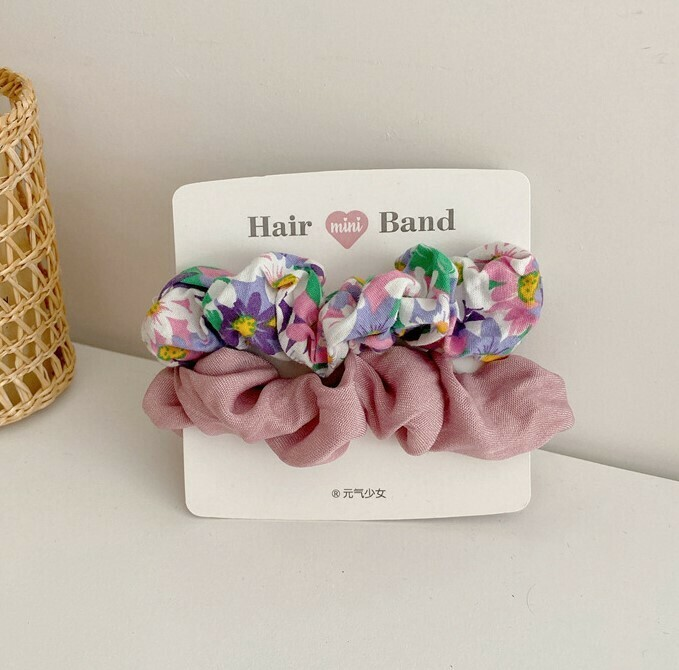 Plain & floral cotton scrunchies pack