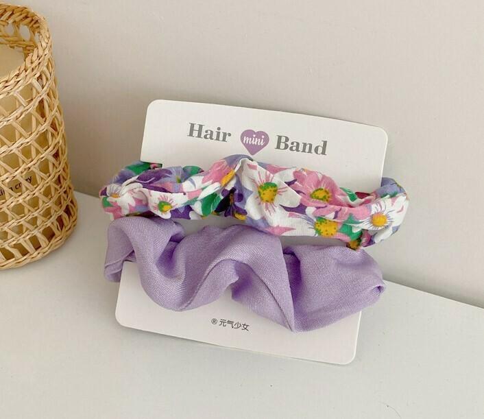 Plain & floral cotton scrunchies pack
