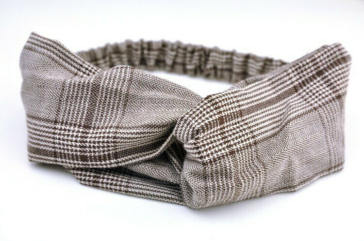 Twist front hounds-tooth plaids elastic headband