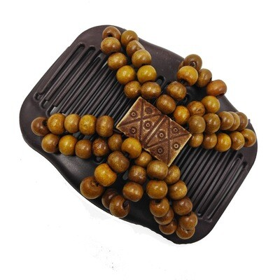 Triangle wooden beads butterfly hair comb