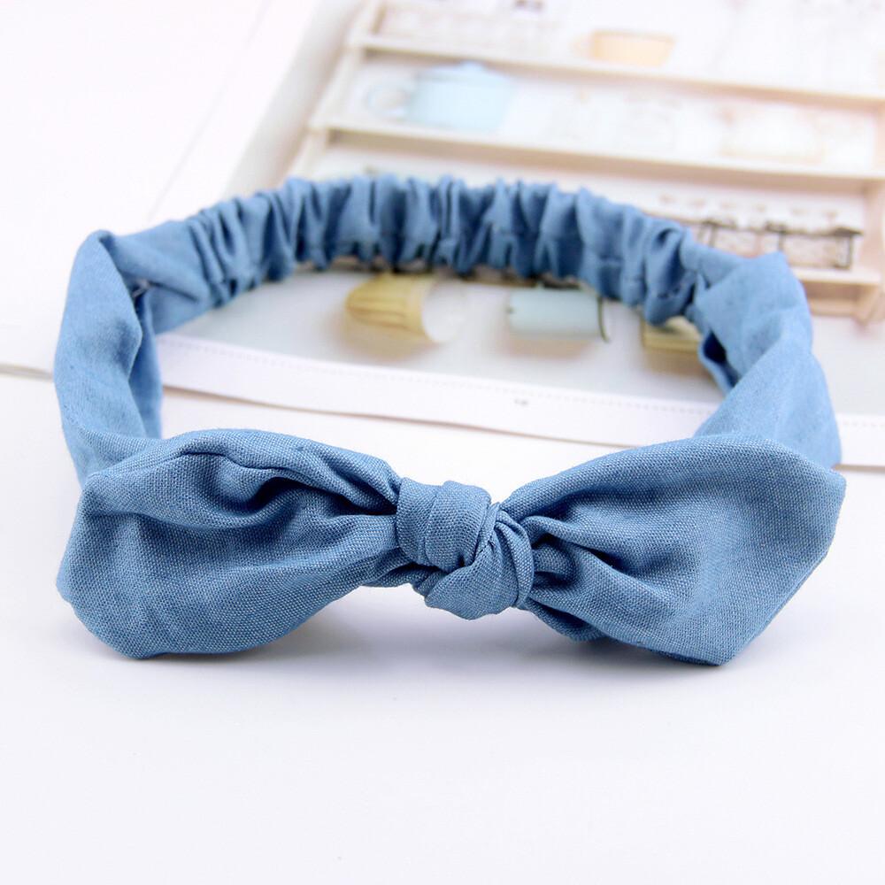 Denim elastic headband with bow