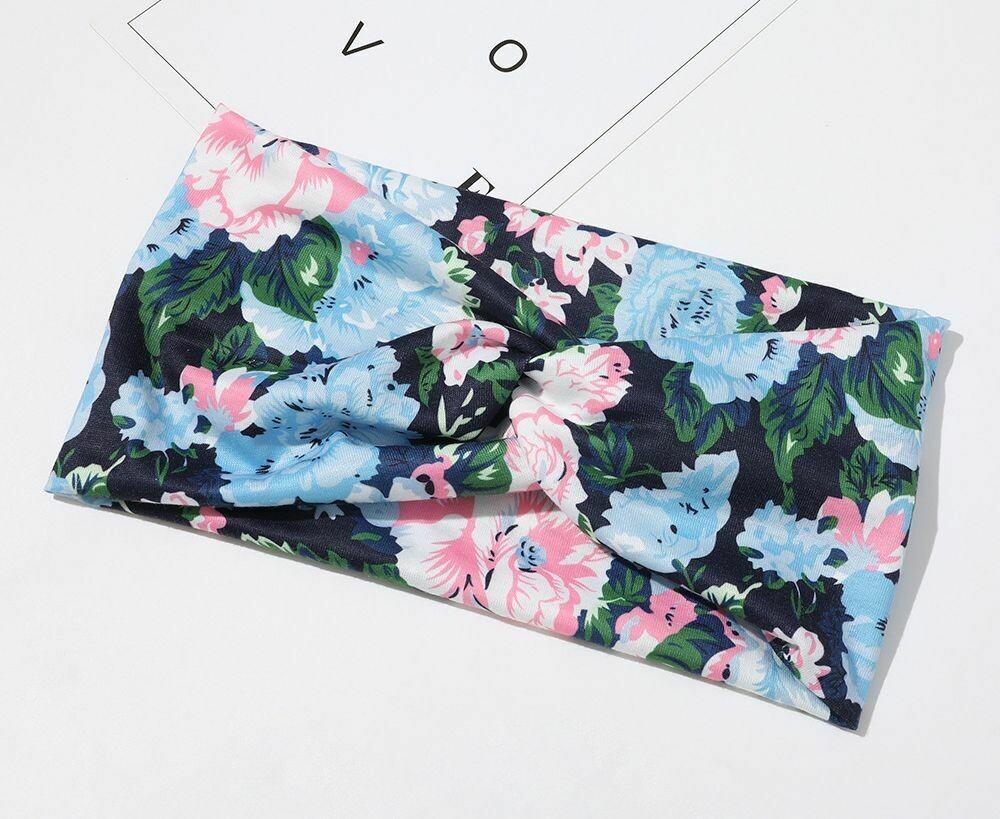 Twist front floral stretch headband