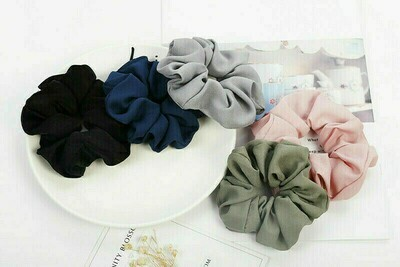 Plain chiffon scrunchies - 30 pieces