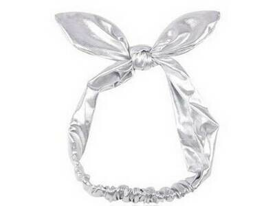 Soft leather bow-knot stretch headband