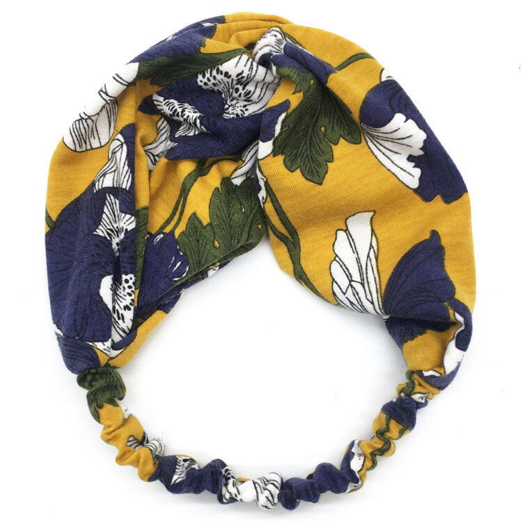 Twist front cotton elastic headband in assorted floral printings
