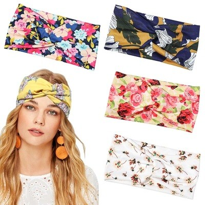 2-way twist front stretch headband in assorted floral printings