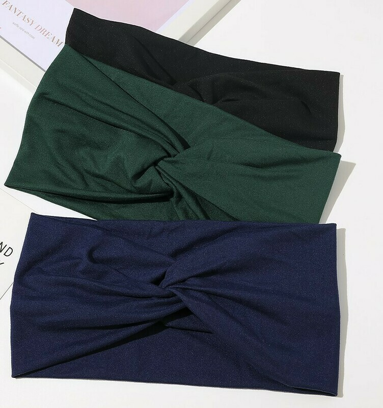 2-way twist front stretchy jersey cotton headband in plain colours