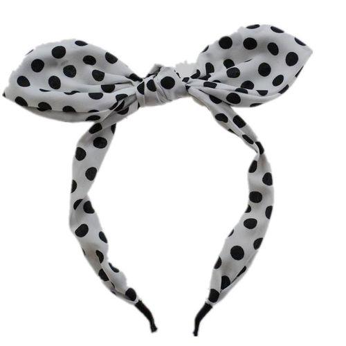 Polka dots headband with bow