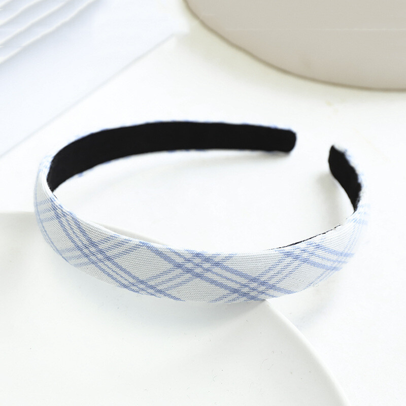 2cm-wide blue plaids headband