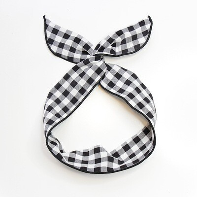 Gingham cotton twist hair scarf
