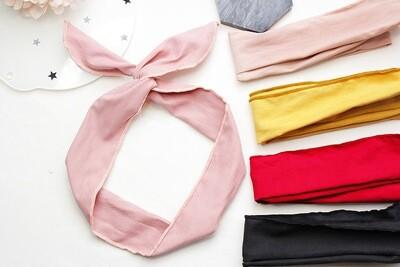 Plain colour ribbed cotton twist hair scarf