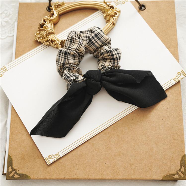 Plaids scrunchies with plain chiffon bow